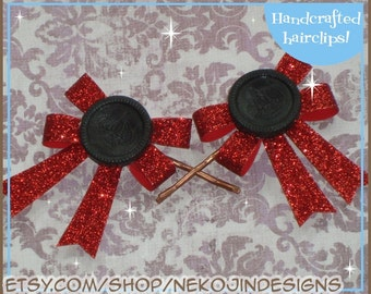 awesome BOARD GAME bows bobby pin set - checkers king red bow gaming gamer alice in wonderland fantasy
