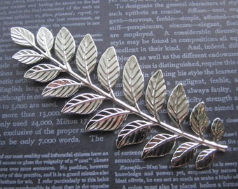 Very Long Stem, 19  Leaves, Silver Tone Stamping, Pliable Finding, Quantity Choice