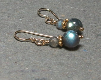 Labradorite Drop Earrings Gold Filled Earrings Blue Flash Earrings Gold Earrings