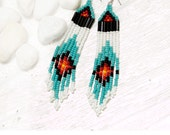 SALE  seed bead earrings - turquoise, white, black, red, orange, yellow