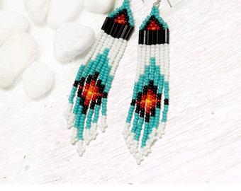 seed bead earrings - turquoise, white, black, red, orange, yellow
