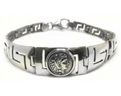Hercules ~ Ancient Greek Erythrai Drachma Coin & Meander - Sterling Silver Bracelet