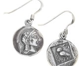 Athena & Owl - Ancient Greek Silver Coin Earrings with Hooks