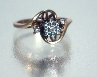 Antique 10k Solid Gold Diamond Ring Unique Setting Vintage Small