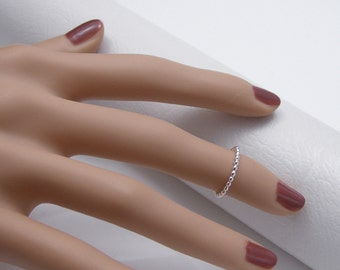 Silver Knuckle Ring, Round Bead Wire