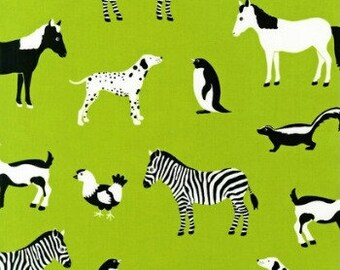 Large 14 x 16 x 4 Wet Bag  / Lime Zoo Menagerie Fabric / Perfect for Diapers / Gym / Swim / SEALED SEAMS and Snap Strap