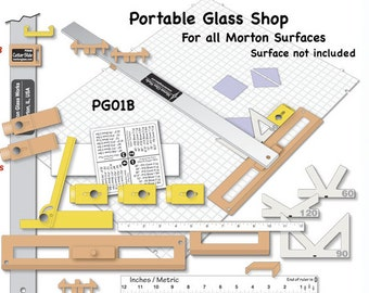 Morton Portable Glass Shop PG01B – fits the Morton Surface – For Cutting Strips, Diamonds, Squares and Other Geometric Shapes