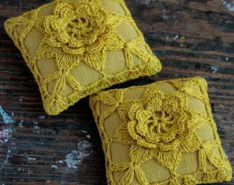 Linen  pincushion - crochet motif -- mustard