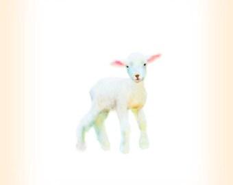 Baby Lamb Print, Sweet Baby Art, Lamb Nursery Painting, Little Lamb Print, Baby Lamb, Barn Animal Art, Nursery Art, Lamb giclee, Baby Print