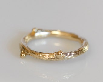 Willow twig ring, 14k yellow gold ring, Made to order, your size