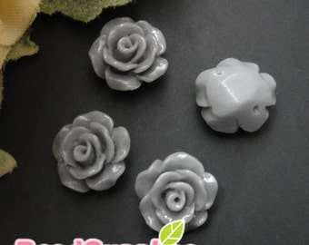 CA-CA-08307 - Petite rose(with hole from left and right), grey, 8 pcs