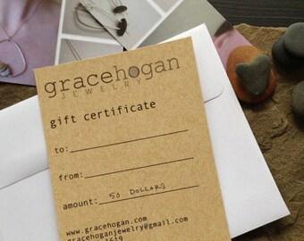 gift certificate for 50 dollars