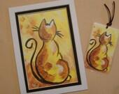 Gift Set - Matted Fine Art Print and Laminated Bookmark Original Cat Art