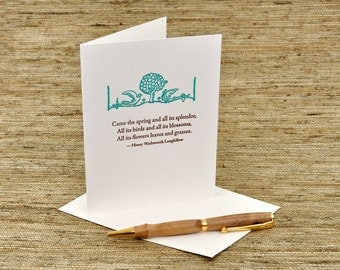 Came the spring - Longfellow quote - letterpress card