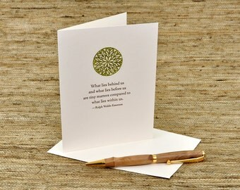 What Lies Behind Us - Emerson Quote - Letterpress Card