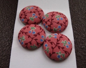 Wearable Sew On Fabric Covered Buttons - Size 36 or  7/8 inches  Tiny Berries on Pink