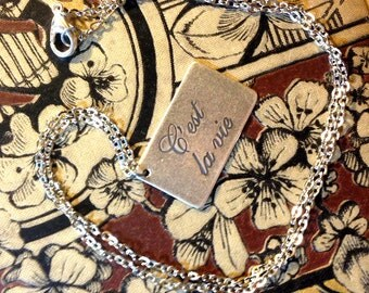 C'est la Vie Plaque Necklace