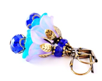 Cobalt and Purple Layered Flower Earrings