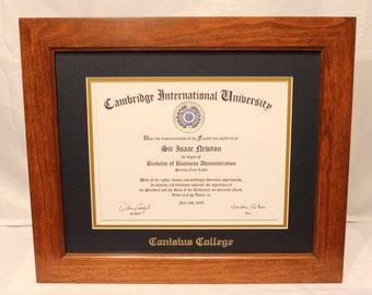 Diploma Frame, Canisius College, Cherry Frame, Traditional