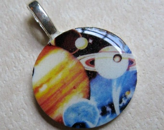 Retro Galaxy Mini Bail Pendant