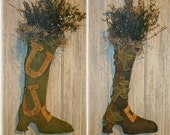 Primitive St Patricks Pattys Day Boot Door Hanger Dolls with two finishing options Shamrocks or Horseshoes EPATTERN pattern
