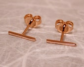 10mm x 1mm 18K Rose Gold Bar Studs Skinny Thin Gold Line Earrings Solid 18k Studs by SARANTOS