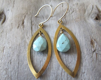 Turquoise Earrings, Brass Almond Dangles, 14K Gold Filled Ear Wires