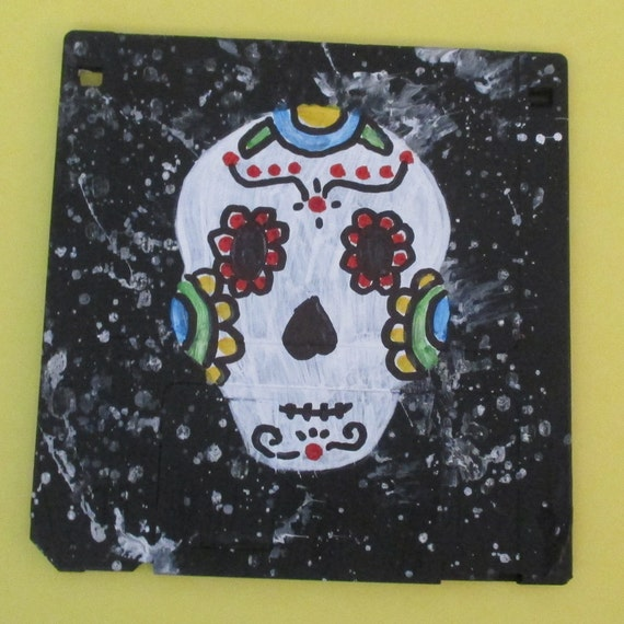 floppy disk art - Day of the Dead, suger skull (Made to Order)- painting, acrylic, Recycled