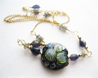Contemporary Iolite Labradorite Gemstone & Artisan Lampwork Bead Gold Filled Midnight Rock Pool Deep Blue Necklace Gift Ideas UK Seller