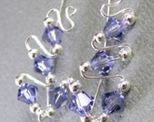 Sterling Silver Tanzanite Ear Climbers Wire Wrapped December Birthstone Silver Swarovski Crystal Choice