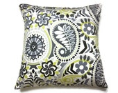 Lynne's Bargain Basement Decorative Pillow Cover Charcoal Black Gray White Yellow Modern Paisley  Accent Toss Throw  18x18 inch