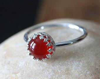 Carnelian Ring • Gallery Bezel • Sterling Silver Gemstone • Size 2 to 15