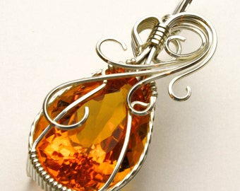 Citrine Swirls and Curls Argentinum Sterling Silver Pendant