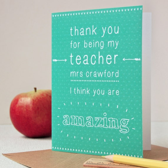 You Re Amazing Thank You: Amazing Teacher Personalised Thank You Card Personalised