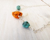 Orange Turquoise Blue  Green Turquoise Stones Sterling Silver Heart Chain Necklace Handmade Jewelry # 49