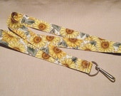 Sunflowers3 white - handmade fabric lanyard