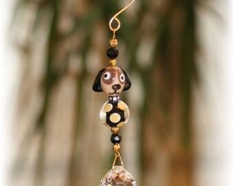 "Cute Lampwork Dog Suncatcher with Swarovski ""Collar"", 20mm Austrian Crystal Ball and Handmade Hanger, Car Mirror Charm, Unique Gifts"