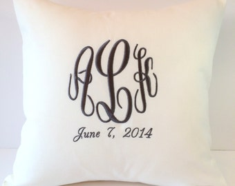 Custom Monogram Decorative Pillow Cover with Wedding Date. 18 x 18 Wedding Day Decor. Modern Bridal Gift. Chic Decor Personal. SewGracious