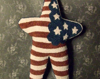 Americana Star Primitive Needle Punch PATTERN