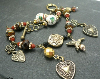 Vintage Style Red and Gold Cloisonne Beads Charm Bracelet