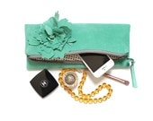 Teal Blue Suede Women's Clutch, Leather Clutch, Suede pouch