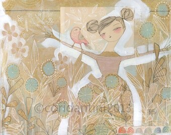folk painting of girl and bird - an 8 x 10 limited edition archival print by cori dantini