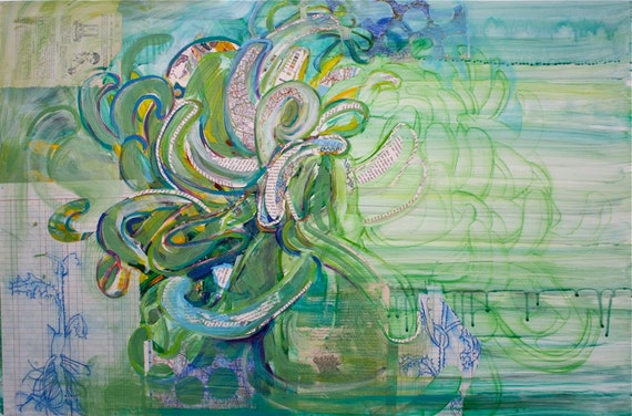SALE large abstract floral painting original mixed media green botanical on sale, oversized