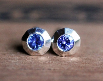 Tanzanite stud earrings, silver studs, tanzanite jewelry, valentine gift for her, valentine earrings, gift for wife bride gift ready to ship