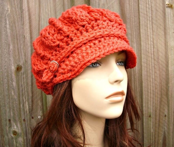 Crochet Ribbed Hat : Crochet Hat Womens Hat - Spring Monarch Ribbed Crochet Newsboy Hat in ...