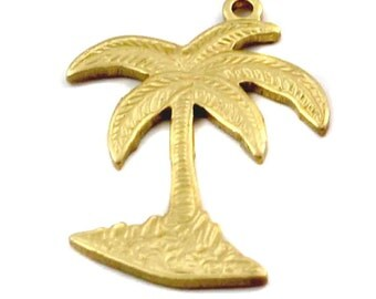 Brass Palm Tree Charms (6X) (M617)