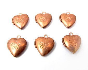 Vintage Copper Plated Heart Lockets with Floral Etching (6x) (L522)