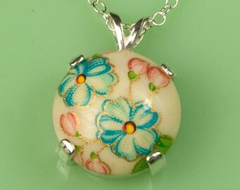 Vintage Blue Flower Necklace