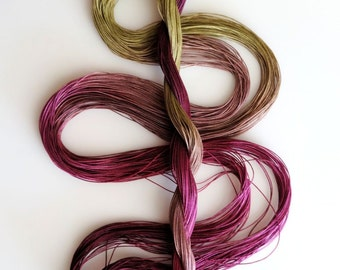 "Size 50 ""Tourmaline"" hand dyed thread 6 cord cordonnet tatting crochet cotton"