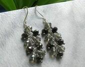 Gunmetal & Silver Crystal Cascade Earrings, Wire Wrapped Long Silver Waterfall Earrings... Handmade Jewelry Gift for Her